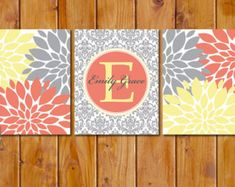 coral, turquoise and grey nursery | Floral Flower Burst Coral Yellow Grey Nursery Damask Monogram Set of 3 ...