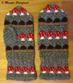 Ravelry: Project Gallery for Svampar pattern by Solveig Larsson Knitting Stitches, Knitting Designs, Knitting Socks, Knitting Projects, Knitting Patterns, Knitted Mittens Pattern, Crochet Mittens, Knit Crochet, Ravelry