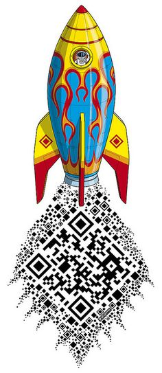 """Creative use of the QR code - you don't just have to be a design afterthought. """"QRocket t-shirt design artwork by Rod Hunt"""""""
