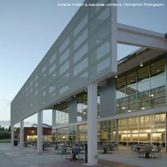 A dramatic shade screen and glass garage doors create the desired interaction space at the Student Union of San Marcos' Palomar College designed by Marlene Imirzian & Associates Architects FAIA. Timmerman Photography http://sourcesfordesign.com/issue1#13