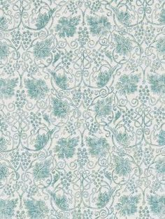 A vine and its grapes design in sage. This new design is reminiscent of the type of illustrations used in the borders of Morris' printed manuscripts. From the Morris & Co collection. Type Illustration, Illustrations, Floral Curtains, Fabric Roses, Curtain Fabric, Fall Flowers, William Morris, Grape Vines, Tapestry