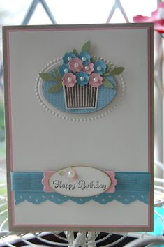 Create a cupcake ; Itty bitty Shapes punch pack ; Extra large oval punch ; Designer frames TIEF ; Little leaves sizzlit ; Modern label punch ; large oval punch ; MS Doily edge border punch ; Birthday