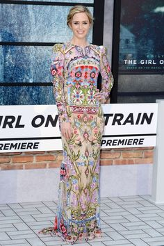 Emily Blunt wearing Alexander McQueen at the The Girl On The Train premiere in London