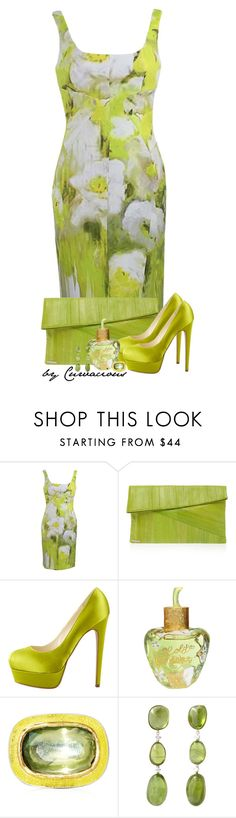 """""""Spring Fling"""" by curvacious ❤ liked on Polyvore featuring Monique Lhuillier, Heidi Mottram, Brian Atwood, Lolita Lempicka, Alice Cicolini, Paul Frank, floral dresses, platform heels, print dresses and fold-over clutches"""