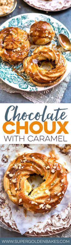 Choux filled with chocolate ganache and drizzled with salted caramel – a wonderful dessert that will make chocoholics drool! | Supergolden Bakes