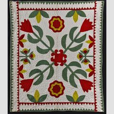 "FLORAL CRIB QUILT/  Artist unidentified United States 1850–1880 cotton, 46 × 39"", collection American Folk Art Museum, gift of Cyril Irwin Nelson: 1998.13.2. Photo credit: Gavin Ashworth"