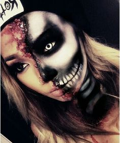 Awesome half skull makeup special effects idea / Looks great paired with one…
