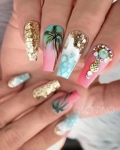 The Most Beautiful Coffin Acrylic nails Design for This Season - Page 3 of 20 Beautiful nail designs are fashionable and attractive, so many women like to accept them. From the indigenous point of view, this seems to be a… Beach Nail Designs, Acrylic Nail Designs, Perfect Nails, Gorgeous Nails, Cute Nails, Pretty Nails, Nagel Bling, Palm Tree Nails, Vacation Nails