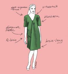 Dieses puristische A-Linien-Kleid macht schlank und ist flexibel einsetzbar - nicht nur im Büro. Lesen Sie den Stil-Check auf www.modefluesterin.de ! Diy Clothing, Dress Making, Sewing Patterns, Curvy, Plus Size, Street Style, Summer Dresses, Womens Fashion