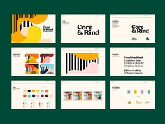 Core & Rind - Brand Guidelines designed by Cory Uehara for Herefor. Connect with them on Dribbble; the global community for designers and creative professionals. Brand Guidelines Design, Brand Identity Design, Branding Design, Identity Branding, Corporate Identity, Brochure Design, Visual Identity, Luxury Branding, Brand Guidelines Template