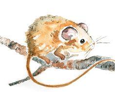 Cute animal Art woodland nursery art mouse by LightheartedDreamer Etsy