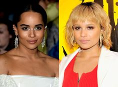 Zoe Kravitz from Celebrities' Changing Hair Color  The Divergent star first debuted her new blond hue at Coachella, and then again at the Jimmy Choo event in Los Angeles. Zoëditched the brunette tresses for a lighter hue and added bangs for an overall edgy makeover.