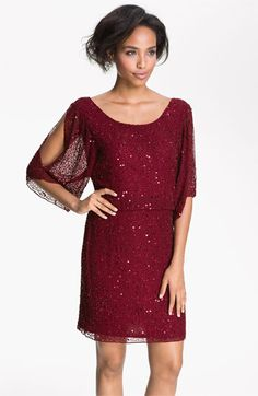 Pisarro Nights Split Sleeve Sequin Silk Chiffon Dress available at #Nordstrom Also in black! #Nordstromweddings
