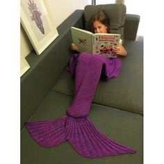 Comfortable Flounced Design Knitted Mermaid Tail Blanket #Unbranded #Knitted