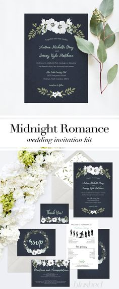 Wedding Invitation Printable - Navy, Mint & White Wedding Invite suite, Black and White Wedding Invitation / Stationery Suite. Blushed Designs