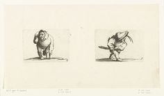 Jacques Callot   Dwerg met kruk en beensteun; Dwerg met zwaard, in aanvallende houding, Jacques Callot, Abraham Bosse, 1621 - 1676   Links: dwerg, van voren gezien, steunend op een kruk, een capuchon of grote kraag op het hoofd, de rechterarm verkrampt opgetrokken, het linkerbeen op een beensteun. Rechts: dwerg, op de rechterzijde gezien, een slappe hoed met bontrand op het hoofd, de rechterhand aan de schede van zijn zwaard, de linkerhand aan het gevest. Deze beide prenten, naast elkaar op…