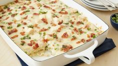 Lasagna Carbonara (w/chicken) -- Classic carbonara flavors (read: bacon) are paired with chicken, peas and a creamy white sauce for a crazy-good twist on lasagna you didn't see coming! Pasta Recipes, Chicken Recipes, Dinner Recipes, Cooking Recipes, Lasagna Recipes, Yummy Recipes, Dinner Ideas, Chicken Bacon, Casserole Recipes