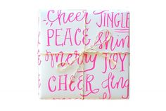 Merry Type Screen Printed Gift Wrap - 2 Sheets from ParrottDesignStudio on Etsy. Saved to Holidays. Wrapping Ideas, Gift Wrapping, Christmas Wrapping, Pink Christmas, Christmas Stuff, Christmas Time, Kraft Envelopes, Holiday Festival, Note Cards