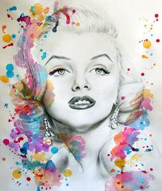 Marilyn Monroe pencil portrait and paint splash by ~JessicaJMiller on deviantART  | This image first pinned to Marilyn Monroe Art board, here: http://pinterest.com/fairbanksgrafix/marilyn-monroe-art/ || #Art #MarilynMonroe