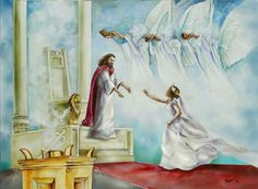Prophetic Art painting with Bride of Christ running to the Bridegroom, our Lord Jesus Christ.