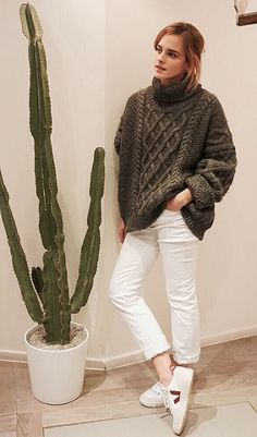 play it cool with an oversized sweater and white sneakers