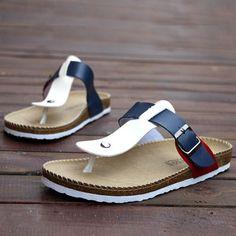 Sandales Homme Tongs Beach Men New elegance Confort Bleu
