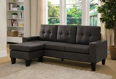 2 pc Mercury Row Briley II black charcoal linen like fabric sectional sofa reversible ottoman chaise. This set is great for a small apartment or room in your home for additional seating. This set includes the 2 pc sectional sofa reversible ottoman chais Sectional Sofa Sale, Small Sectional, Fabric Sectional, Modern Sectional, Chaise Sofa, Couches, Sofa Bed, Living Room Seating, Living Room Furniture