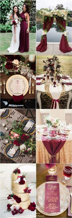 With a beautiful, burgundy/marsala and gold color palette, today's wedding color idea is perfect for fall and winter weddings. Burgundy is one of the most popular colors for fall nuptials, it looks veryâMoreMore -- You can find more details at this image link #Wedding