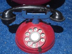Antique Early 1900 Child's Red Toy Telephone by ItseeBitsee, $52.00