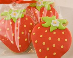 Strawberry Cookies - 12 Decorated Sugar Cookie Favors