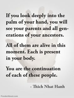 Thich Nhat Hanh. To be able to go back in time and meet as many ancestors  as possible... Bert Hellinger Family Constellations
