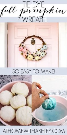 Tie Dye Fall Pumpkin Wreath with floral for a front door. This easy DIY is a beautiful decor for the front door. Ideas for an autumn wreath that are beautiful and simple with a step by step tutorial.