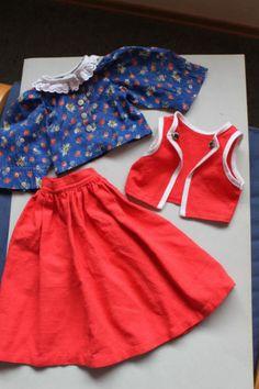 Puppenkleid-3-teilig-Trachtenlook-Rock-Bluse-weste-rot
