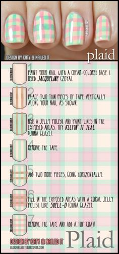 plaid nail art how to