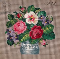 Bunch of roses and violets in vase embroidery design, 19th century