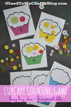 C is for Cupcake Counting Game - Busy Bag Idea & Free Printable Numbers Preschool, Math Numbers, 1 To 1 Correspondence Preschool, Learning Numbers, Counting Activities, Preschool Activities, Space Activities, Activity Games, Number Activities