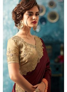 Wine and Beige Embroidered Silk Saree Indian Bridal Sarees, Indian Bridal Fashion, Indian Beauty Saree, Saree Hairstyles, Indian Hairstyles, Bridal Hairstyles, Trendy Sarees, Stylish Sarees, Bridal Hair Buns