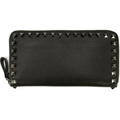 Valentino Garavani 'Rockstud' wallet ($785) ❤ liked on Polyvore featuring bags, wallets, black, valentino wallet, black wallet, zip top bag, black bag et valentino bags