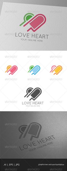 Love Pink Heart Logo Template by Romaa Roma, via Behance