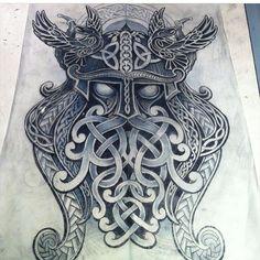 Artist IG @deano_robertson #amazing #sketch for a #tattoo #odin #ravens #huginn…