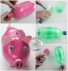 Manualidades de botellas de plástico para niños.Una manualidad muy sencilla de hacer con los niños estas manualidades de botellas…