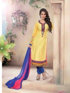 Cream & Blue Color Brasso Salwar Suit http://www.fabefy.com/cream-blue-color-brasso-salwar-suit.html