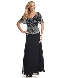 Jkara Beaded Chiffon Gown #Dillards Black? all really chiffony.  may want more western