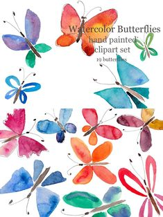 Butterfly Watercolor, Butterfly Design, Hand Painted, Bowtie Pattern