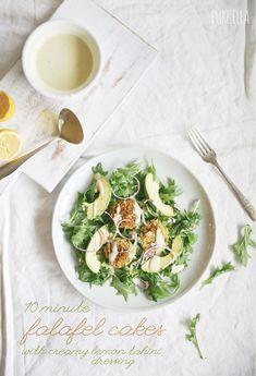 10 Minute Falafel Cakes with Creamy Lemon Tahini Dressing : vegan and gluten free