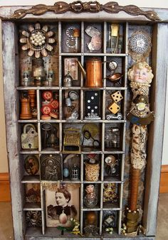 Printer's tray assemblage by Diane Salter This is amazing! Shadow Box Kunst, Shadow Box Art, Altered Boxes, Vitrine Vintage, Craft Projects, Projects To Try, Diy And Crafts, Arts And Crafts, Tic Tac Toe