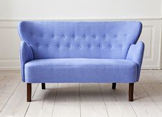 The Apartment periwinkle forgetmenot blue buttonback tufted sofa - just get in my house already! Interior And Exterior, Interior Design, Himmelblau, Ideal Home, Home And Living, Decoration, Home Furniture, Love Seat, Upholstery