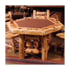 Rustic Log Poker Table with Log Framework Base by Fireside Lodge