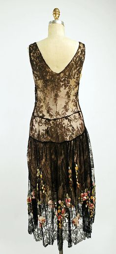 Back view of a 1920s silk and cotton evening dress, French.