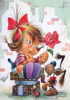 View album on Yandex. Illustration Mignonne, Cute Illustration, Cute Little Girls, Cute Kids, Vintage Cards, Vintage Postcards, Cute Images, Cute Pictures, Art Mignon